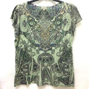 One World Flutter Sleeve Beaded Green Shirt, 2X